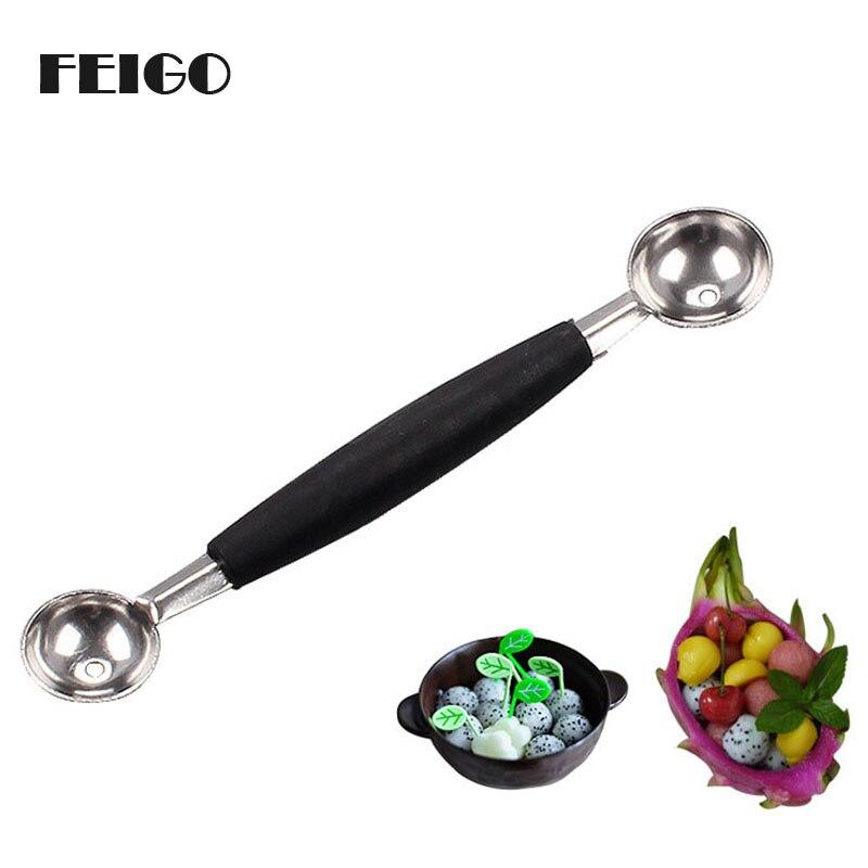 FEIGO 1Pc Stainless Steel Double Ended Headed Fruit Icecream Ball Spoon Diameter Melon Baller Kitchen Fruit Vegetable Tools F273