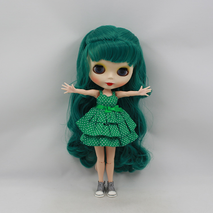 Mini DIY Nude Blyth Doll Green Long Hair 30cm Fashion Blyth doll Joint Body Girl Toys Gifts free shipping bjd joint rbl 415j diy nude blyth doll birthday gift for girl 4 colour big eyes dolls with beautiful hair cute toy