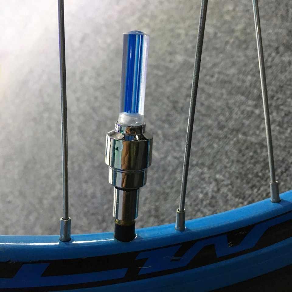 1 Pcs Nieuwe Led Fietsverlichting Wiel Ventieldopjes Fiets Accessoires Fietsen Lantaarn Spaken Fiets Lamp Kleur Blauw Groen roze Geel