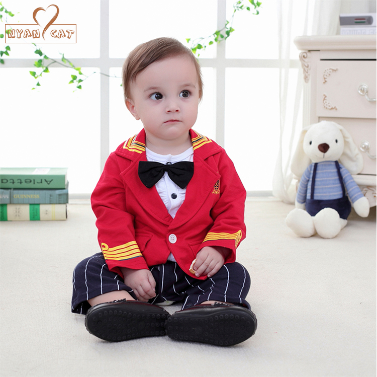 Nyan Cat Baby boy captain military officer costume red blue toddler gentlemen striped bow tie romper roupa infant menino clothes  gentlemen style striped baby boy romper playsuit