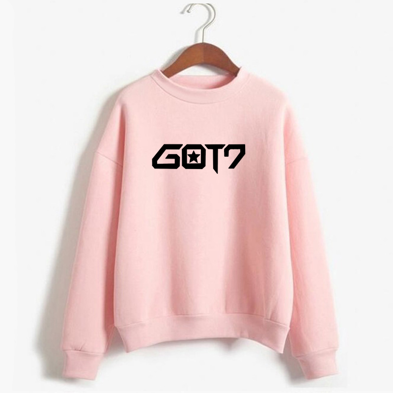 K-Pop Korean Style Never Ever Got7 Hoodie Women Casual Long Sleeve Pullover Streetwear Fleece Hooded Sweatshirt Kpop Got 7