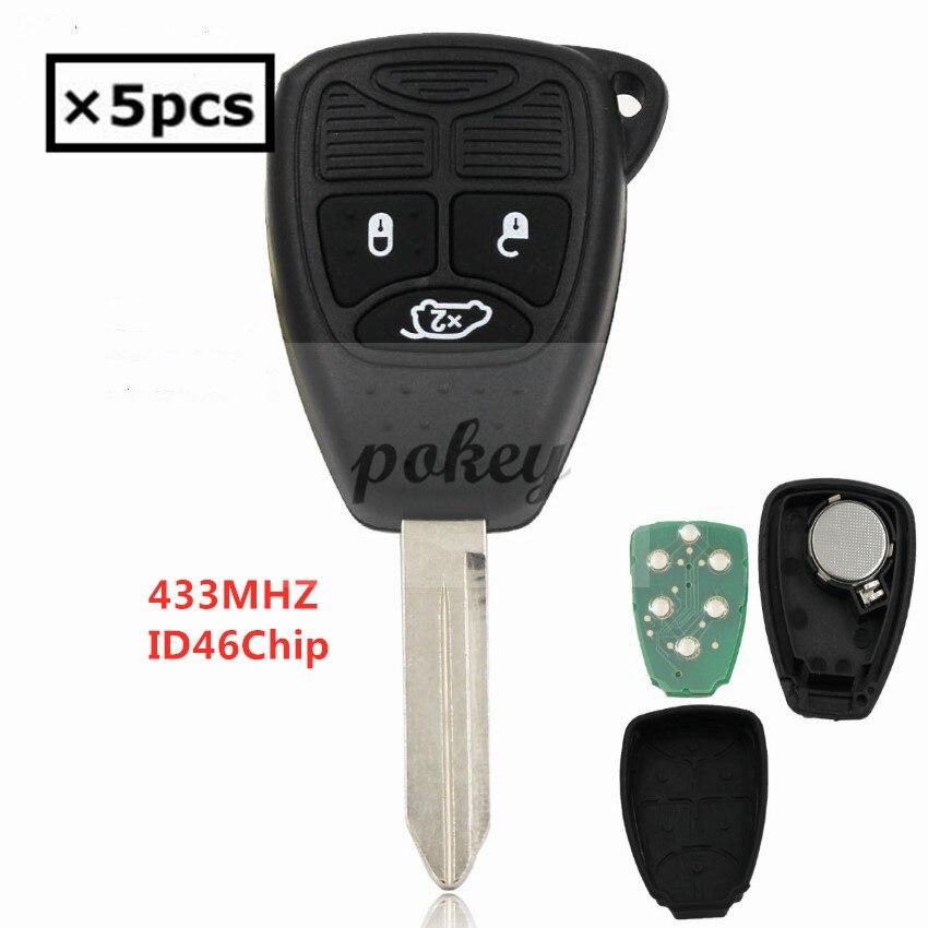 5/pcs pour Chrysler lame non coupée clé à distance 3 boutons clé de voiture intelligente 433 MHZ avec puce ID46