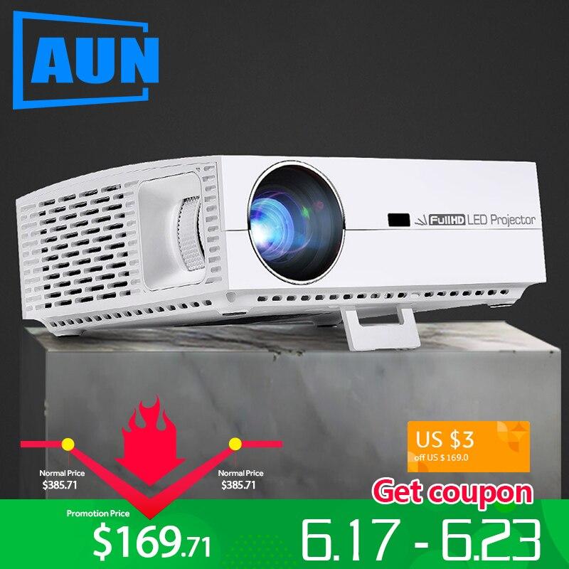 Marca AUN Projetor Full HD, Resolução 1920x1080 P, F30. 5500 Lumens, 3D LED Beamer para Home Theater. Pode ser comparado com 4 K