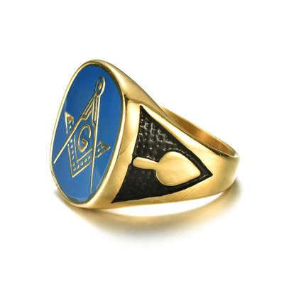 2019 Панк Винтаж R Золотой синий цвет черная сторона масонское кольцо для мужчин ювелирные изделия Freemason символ G темплар Freemasonry кольца