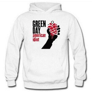 Image 2 - グリーン印刷パンクロックパーカー男性女性フリース長袖ヒップホップトレーナープルオーバーストリートスケートボードパーカー