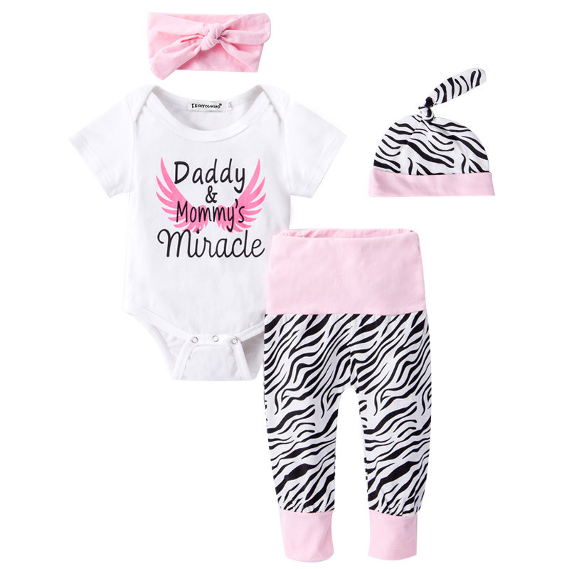 Newborn Clothing 2017 New Baby Girl Clothes Cotton Short Sleeve Girls Suits Infant Baptism Suit Kid 4 Pieces Sets For Newborns