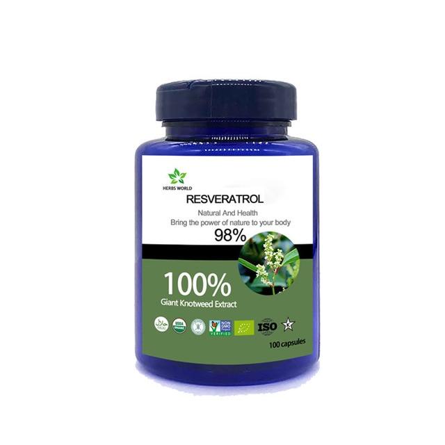 Natural Resveratrol  100pcs/bottle 100%  Polygonum cuspidatum extract powder