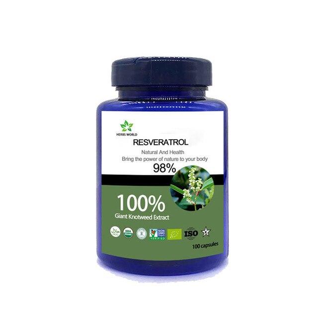 טבעי Resveratrol 100 pcs/בקבוק 100% Polygonum cuspidatum תמצית אבקה