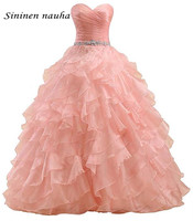 Pink 2019 Quinceanera Prom Party Dresses Beaded Sweetheart Organza Dance Ball Gown Vestidos De 15 Anos Sweet 16 Dresses 333