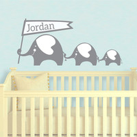 Elephant House Wall Sticker And Custom Baby Names Decals Elephant Wall Sticker For Kids Rooms Baby