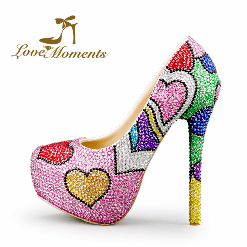 Multicolor Wedding Shoes Mix Color Pink Blue Green Rhinestone Las Platform High Heels Valentine Designer Prom Pumps In Women S From On