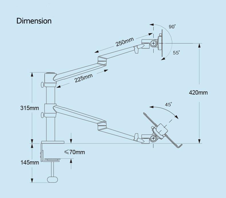 OL 3L ergonomia de prata de alumínio