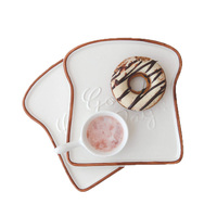 GFHGSD 6 5 Inch Creative Toast Shape Ceramic Dinner Plate Porcelain Food Tray Kitchen Tools Tableware