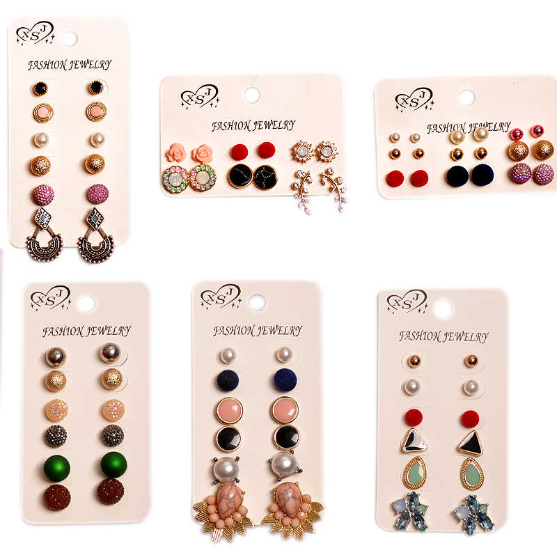 New ly designed women's jewelry wholesale girls' birthday party stud  beautiful mashup 6 pairs /set earrings gift Free shipping