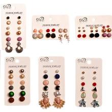 Brincos femininos recém-projetados, joias para mulheres para festa de aniversário linda presente de mahup 6 pares/set