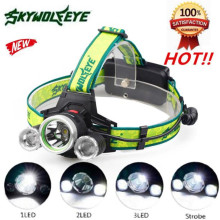 High Quality 10000Lm 3X XML T6+2R5 LED Headlight Headlamp Flashlight 18650 Torch Light Lamp