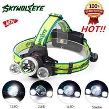 High Quality 10000Lm 3X XML T6+2R5 LED Headlight Headlamp Flashlight 18650 Torch Light Lamp