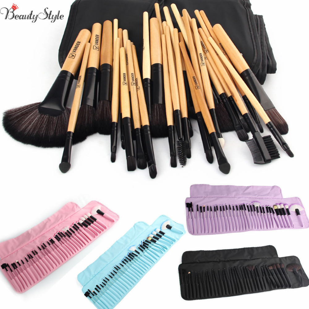 VANDER Makeup Brushes Set 32 PCS Pink/Black/Blue/Purple/Brown pincel Maquillage Kabuki Pinceaux Brush Set Kit Tools + Pouch Bag top quality copper ferrule makeup brushes 26 pcs professional makeup brush set black pinceaux maquillage with leather bag q02