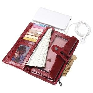 Image 2 - İletişim yeni 2020 hakiki deri kadın cüzdan uzun tasarım debriyaj dana cüzdan yüksek kalite moda kadın çanta telefonu çanta