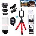 Teléfono 10in1 Kit Teleobjetivo Lentes Del Telescopio del Zumbido 8X Lente de La Cámara + Trípode holder + lentes de ojo de pez de gran angular macro para iphone 7 6 5 s