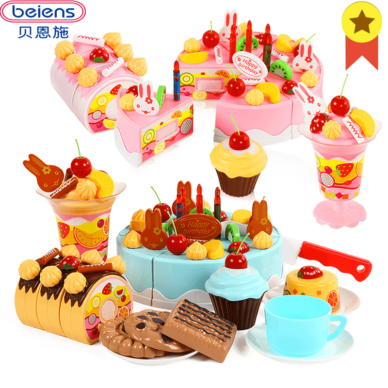Beiens Kids Kitchen Pretend Play Cutting Birthday Cake Children Fruit Toy Baby Cooking Toys Plastic Food Sets For Girls Limited