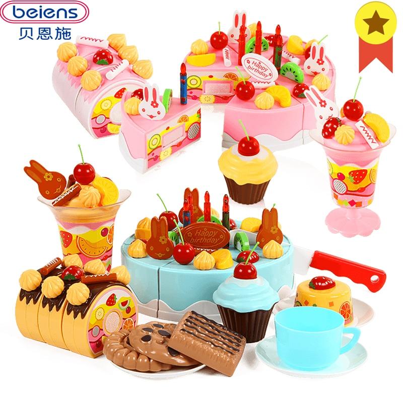 Beiens Kinder Küche Pretend Spielen Schneiden Geburtstag Kuchen Kinder Obst Spielzeug Baby Kochen Spielzeug Kunststoff Lebensmittel Sets Für Mädchen Begrenzte