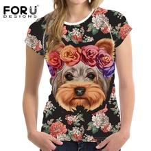 Floral Yorkie women shirt