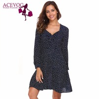 ACEVOG A Line Dress Women Long Sleeve Print Square Neck Party Dresses Summer Autumn Loose Knee