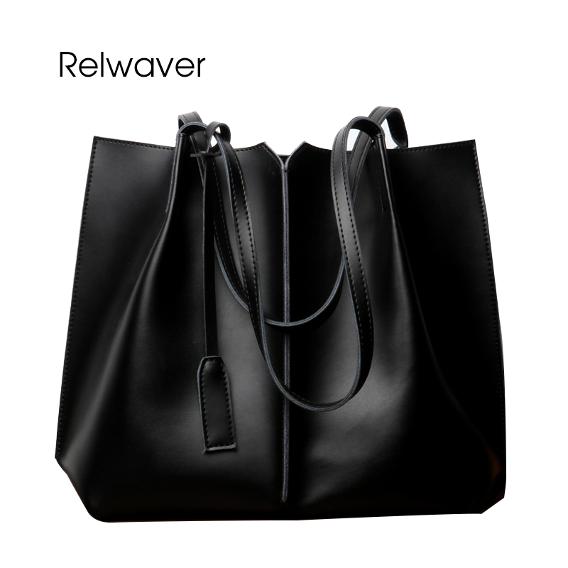 Relwaver causal women leather handbags big split leather business shoulder bag ol grey brown black shopping composite women bag p p x split leather composite bag