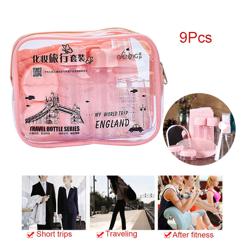 9Pcs/set Makeup Spray Bottles Kits Shampoo Cream Lotion Container Bottle Towel Travel Set with Pouch Tool HB88