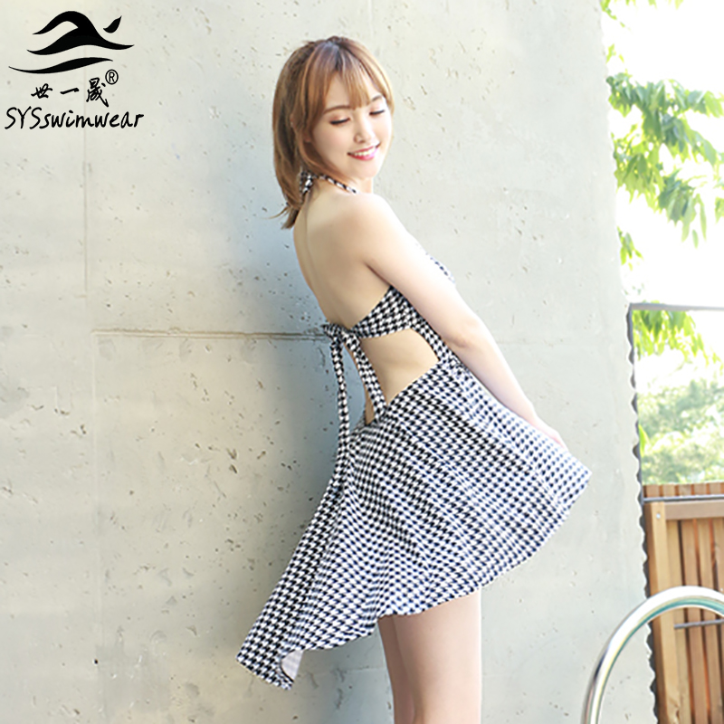 High Quality Houndstooth Backless Dovetail skirt One Pieces Swimwear Halter Black Shorts two pieces Swimsuit Push Up Bathingsuit
