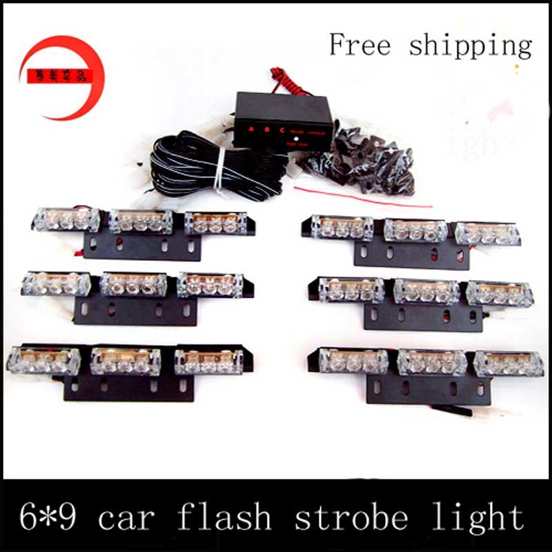 Wholesale 54 LED car truck boat Flash Strobe snowy raining   Emergency Light  3X6 panels   warning light red blue amber white
