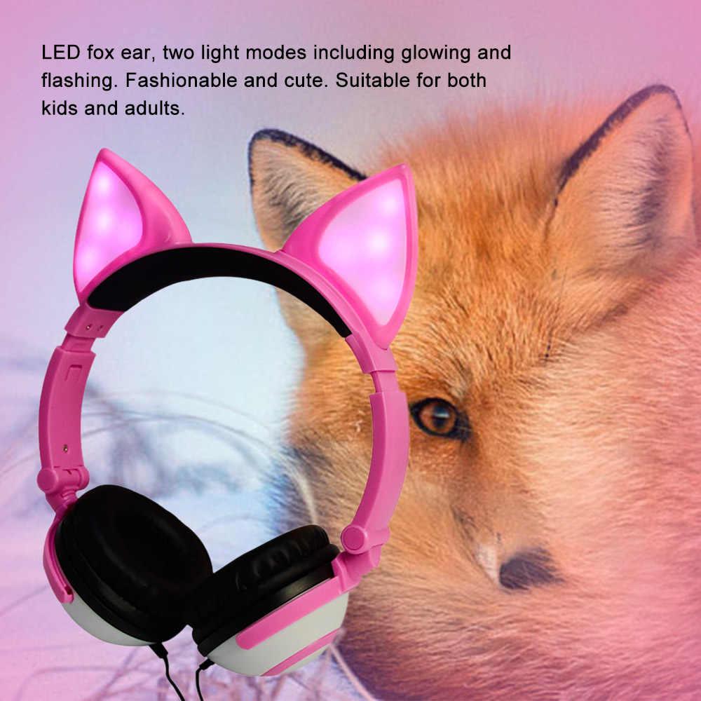 น่ารักสัตว์สุนัขจิ้งจอกหูหูฟังสำหรับ PC แล็ปท็อป AUX 3.5 มม. หูฟังชุดหูฟัง