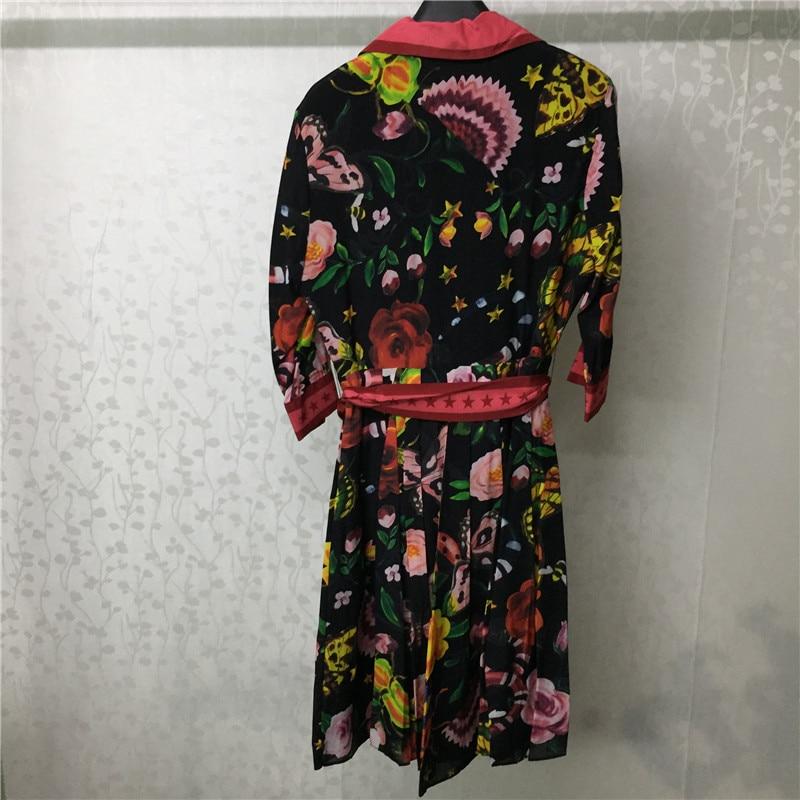Dames Mode Rétro Pics Robe Soie De Robes Femmes Rouge Ceinture As Genou  Fleur Automne New Vintage Longueur qxFW6wB8z b1e789cf4d7