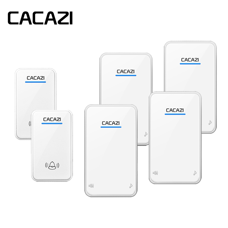 CACAZI Wireless Waterproof Doorbell Battery Button 48 Rings 6 Volume LED Receiver EU Plug 300M Remote Smart Household Call BellCACAZI Wireless Waterproof Doorbell Battery Button 48 Rings 6 Volume LED Receiver EU Plug 300M Remote Smart Household Call Bell