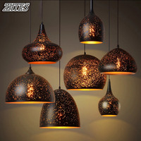 American Village Retro LOFT Industrial Corrosion Chandelier Single Head Creative Hollow Iron Light Bar Light