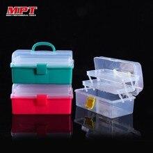 Transparent Plastic Three-layer Folding Toolbox Hardware Accessories DIY Tool Box Cosmetics Organizer Parts Case Storage Toolkit