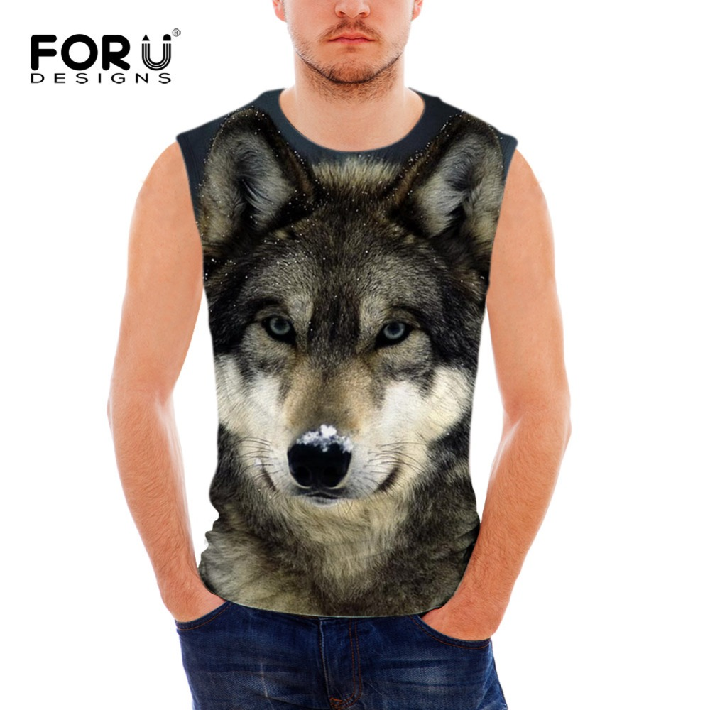 FORUDESIGNS Summer Tank Top Men Clothing and Fitness 3D Wolf and Pug Dog Men's Sleeveless Vests Singlets Casual Tops for Boys