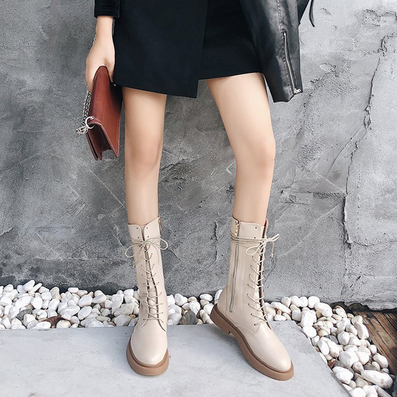 5d6ced050dbe Women Boots leather knee-high platform motorcycle botines flat heel cross- tied long botas side zip white winter boots hoes women