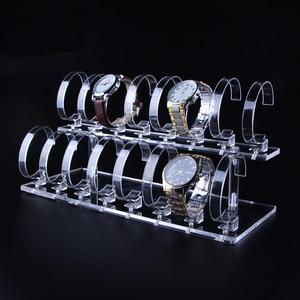 Image 1 - 1 Juego de 2 niveles, de moda, acrílico transparente, para reloj de pulsera, soporte para estante de exhibición