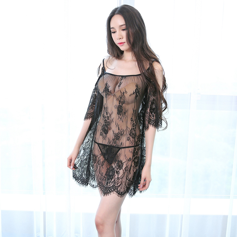 Ladies Gowns Black Ropa Sexy Para El Sexo Night Gown Night Dress Lace Lingerie Porno See Though Womens Clothing Sleepwear