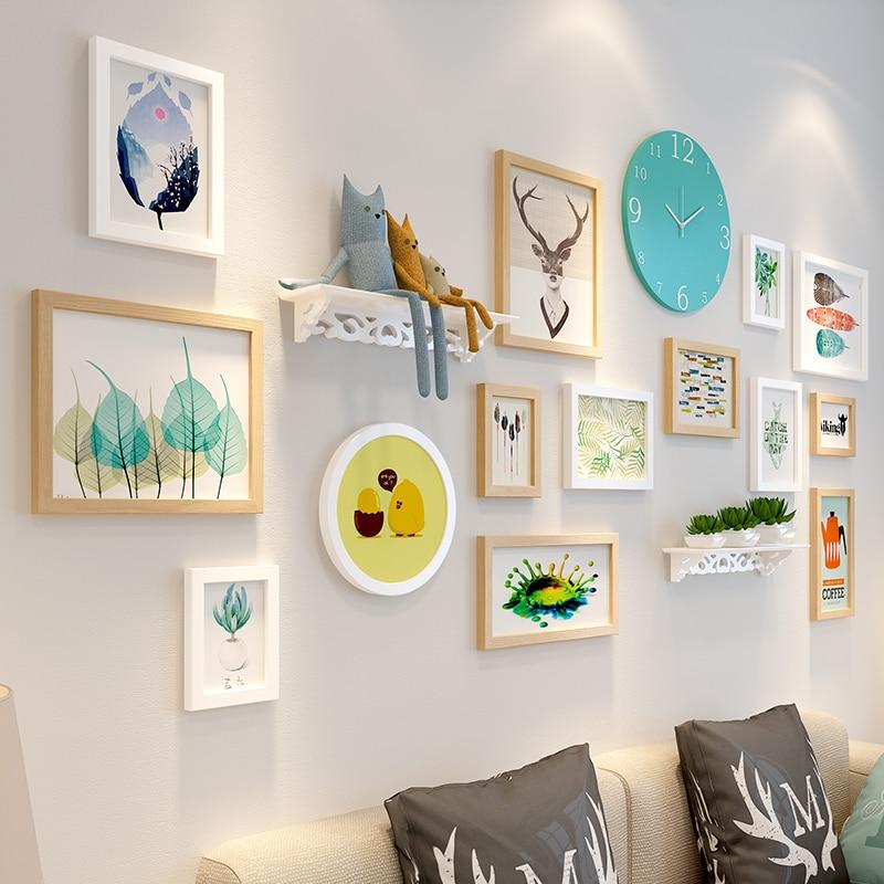 14 pz Cornici + Orologio + Mensola di Casa Appeso Album di Foto per Foto Combinazione Muro Photo Frame Set di Legno cornici Set - 4
