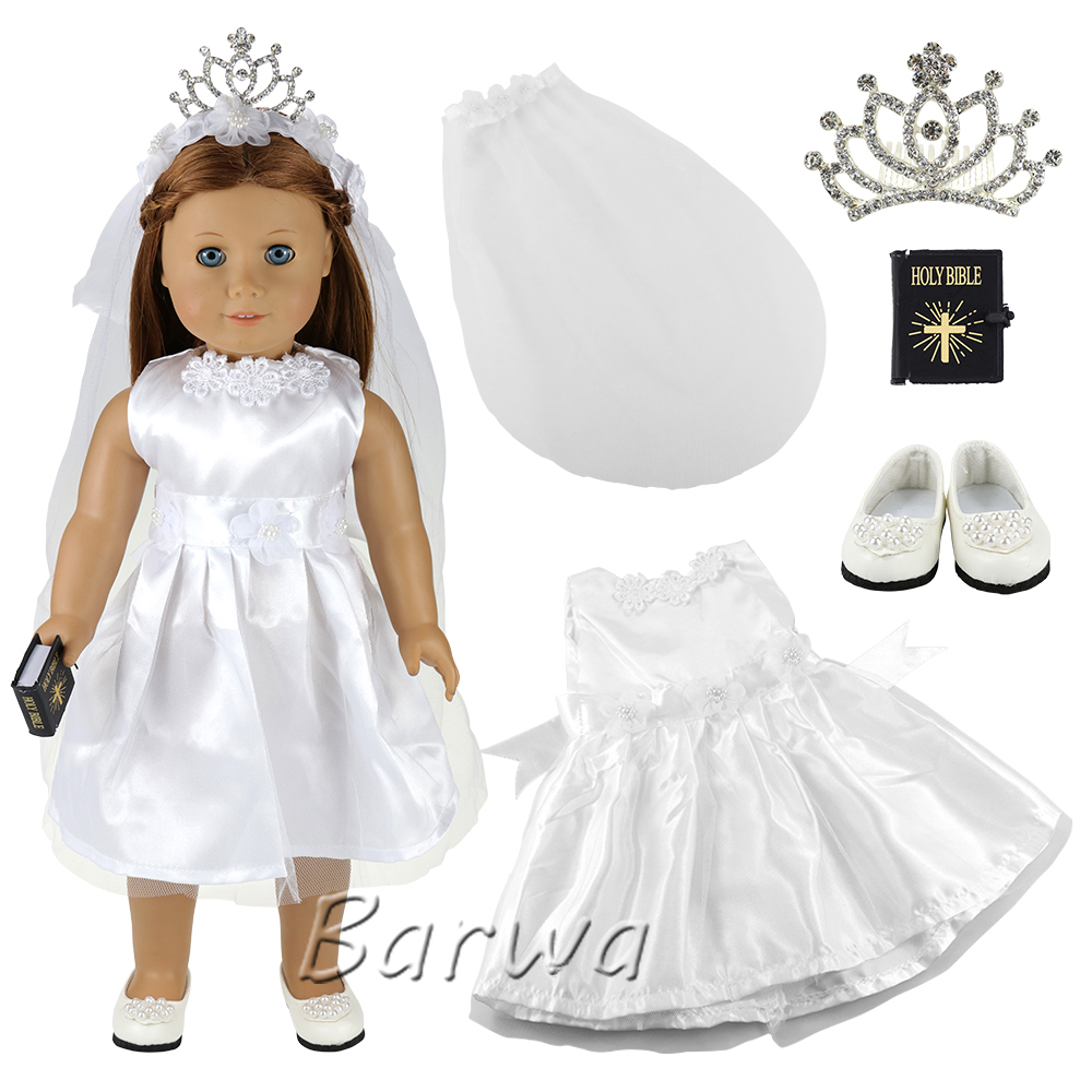 18 Inch <font><b>Doll</b></font> Wedding Dress Crown Shoes Baby <font><b>Doll</b></font> <font><b>43</b></font> <font><b>cm</b></font> <font><b>Clothes</b></font> 1/6 Dress <font><b>Set</b></font> For America Girl <font><b>Doll</b></font> Toy Best Gift Accessories image