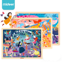 MiDeer 24P/48P/100P Wooden Puzzle Games Toys with support baby learning education intelligence puzzle scene toy for kids 2Y+