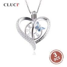 Cloci 3 قطعة الفضة 925 القلب عقد بحلية متدلية على شكل فراشة للنساء قلادة مجوهرات 925 مجوهرات الفضة القياسية والزركونيوم قلادة مجوهرات SC351SB