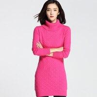 Новая мода женщин толстый твист Водолазка кашемир пуловеры трикотажные твердые обычный длинный свитер платье MK16015