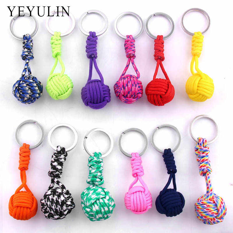 New Arrival Polyester Braided Rope Ball Fist Key Chain Self