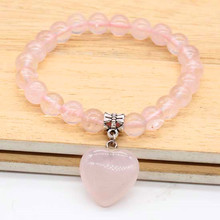 Kraft-beads Silver Plated Love Heart Natural Rose Pink Quartz Connect Round Beads Bracelet For Women Jewelry
