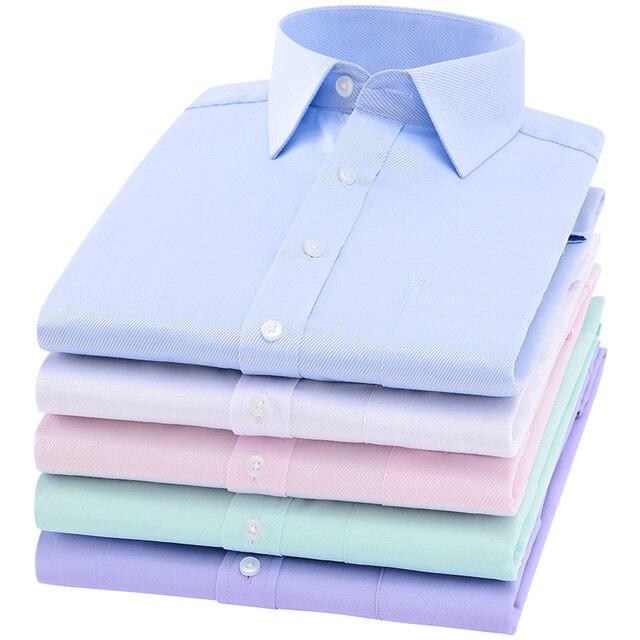 2019 Men Dress Shirt Long Sleeve Slim Brand Man Shirts Designer High Quality Solid Male Clothing Fit Business Shirts 4XL YN045 4