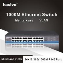 Interruptor lan ethernet con 24 puertos RJ45, conmutador gigabit para cámara ip